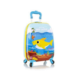 Pinkfong Baby Shark Kids Spinner Luggage Hardside Wheeled Suitcase - 18 Inch [Blue]