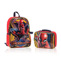 Spiderman Backpack with Detachable Lunch Box 2 Piece Set for kids - 16""