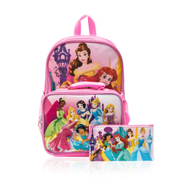 Disney Princess Cinderella Belle Aurora Rapunzel 3 piece Backpack Set