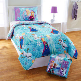 Princess Disney Frozen Elsa Anna Ties 4 Piece Kids Twin Bedding Set Plus Bonus Tote