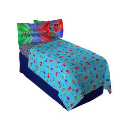 "PJ Masks ""It's Hero Time"" Full Sheet Set for Kids 4pc Bedding Sheet Set - 81 X 96 Inch [Blue]"