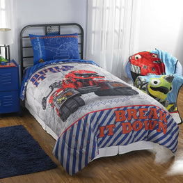 Dinotrux Build It Up Twin Sheets with Twin/Full Comforter Kids Bedding - 4pc Set
