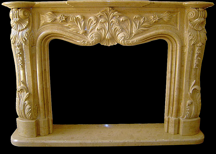 Sahara Beige Marble handcrafted Fireplace Surround
