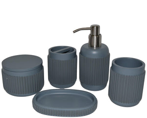 Bathroom Set of 5-Pieces with Gray Vertical Ribbed Design - Rainbow Elite Collection