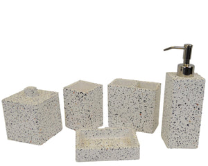 5 Piece Bath Set of White Cement with Color Chips | Rainbow Elite Collection