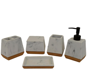 Bathroom Set of White Marble with Wood Base Design - Nature Home Decor