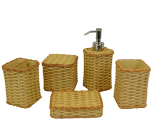 5 Piece Bathroom Accessories Set of Beige Basket Weave Design - Nature Home Decor