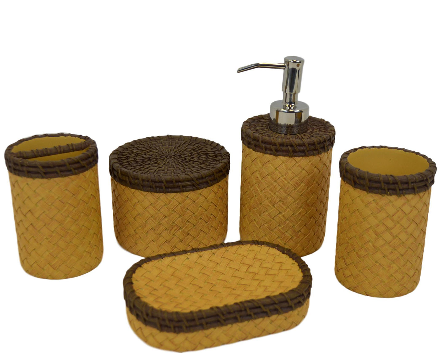 5 Piece Bathroom Set of Brown & Beige Basket Weave Design - Nature Home Decor