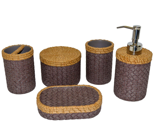 5 Piece Bathroom Accessory Set of Brown and Purple Weave Design - Nature Home Decor