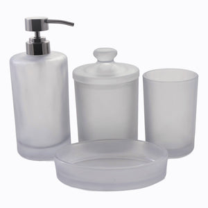 glass 4-piece bathroom accessory set of cloud collection | nature_home_decor