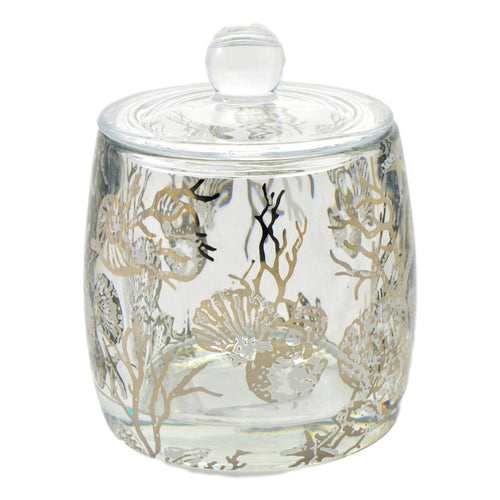 Angus Glass Bathroom Canister | Cotton Jar of Antlers Collection - Nature Home Decor