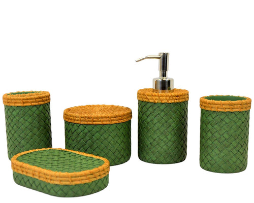 Bathroom Accessory Set of Beige and Green Weave Design | Rainbow Elite Collection - Nature Home Decor