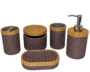 Bathroom Accessory Set of Brown and Purple Weave Design | Rainbow Elite Collection - Nature Home Decor