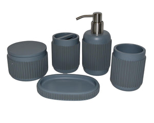 Bathroom Set of 5-Pieces with Gray | Green Vertical Ribbed Design - Rainbow Elite Collection