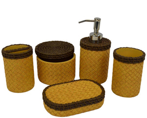 Bathroom Set of Brown & Beige Basket Weave Design | Rainbow Elite Collection - Nature Home Decor