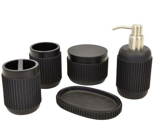 Bathroom Set of Ribbed Black Design | Rainbow Elite Collection - Nature Home Decor