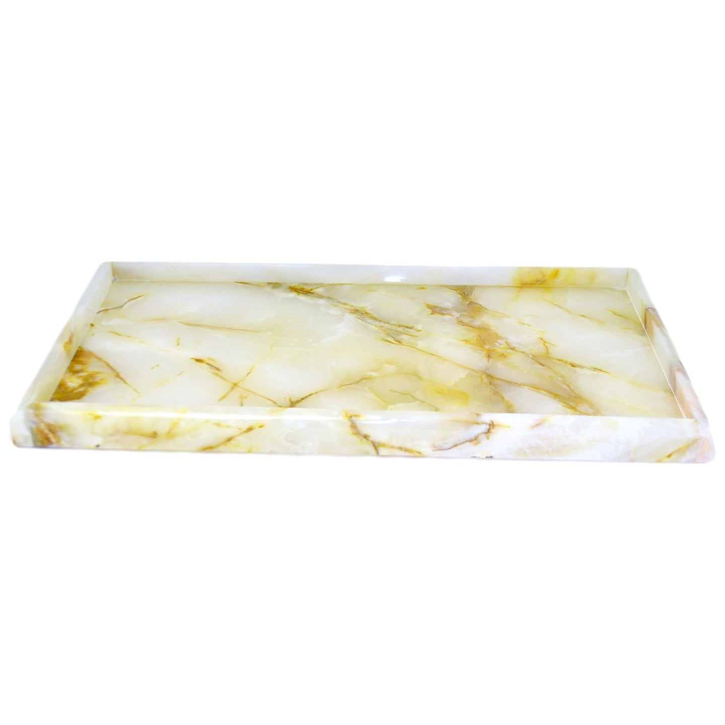 Bathroom Vanity Tray of White Onyx - Nature Home Decor