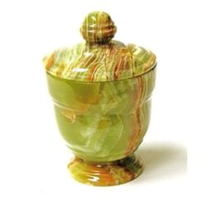 Classic Green Onyx Bathroom Canister | Cotton Ball Holder - Nature Home Decor