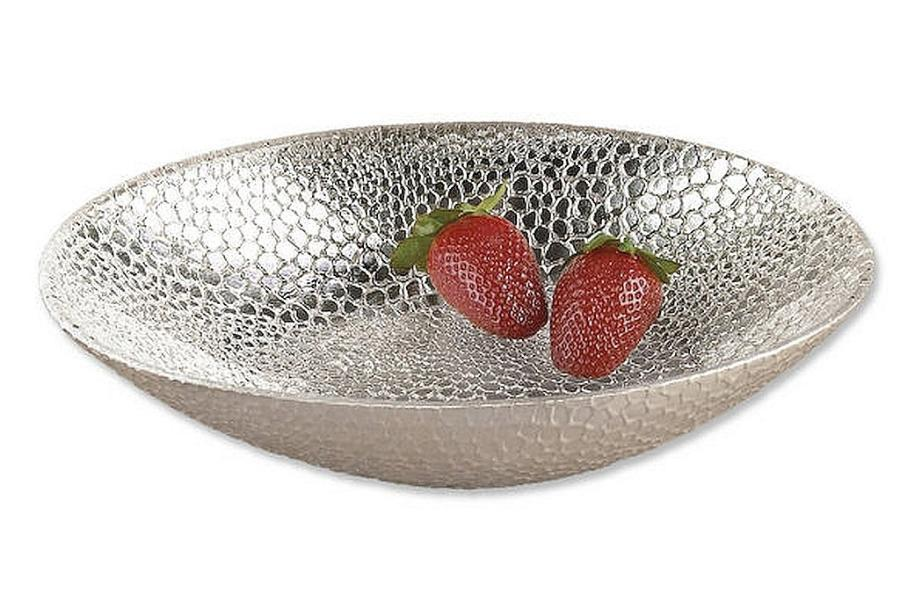 Crystal Fruit Bowl with Genuine Silver Leaf Snakeskin Pattern - Nature Home Decor