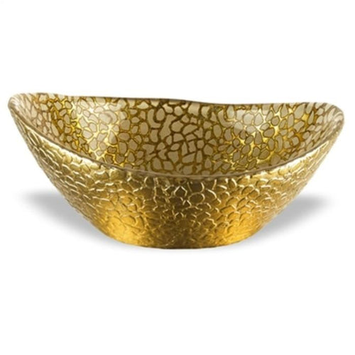 Crystal Glass 6-inch Oval Bowl with Antique Gold Leaf Snake skin Pattern - Nature Home Decor