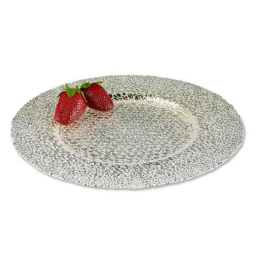 Crystal Glass Serving Platter with SilverLeaf Snakeskin Design - Nature Home Decor