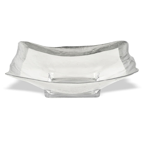 Crystal Glass Square Bowl with Authentic Silver Leaf Pattern - Nature Home Decor