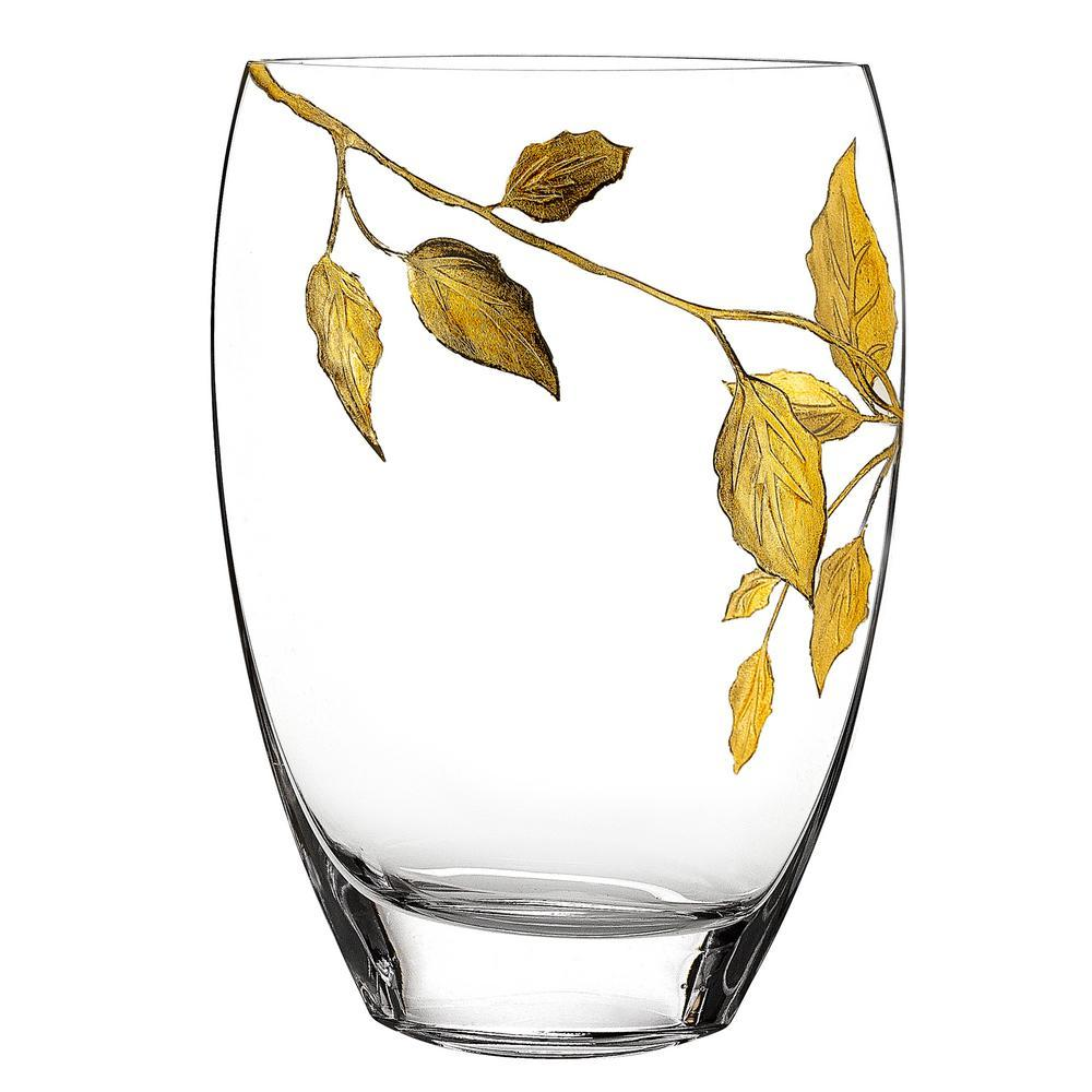 Crystal Gold Leaves Decorative Vase - Nature Home Decor