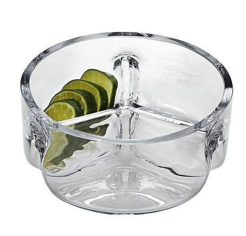 Divided Serving Bowl |Trista Crystal Three Section Serving Bowl - Nature Home Decor