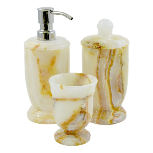 Elegant Bathroom Accessories sets | White Onyx 3-Piece Bath Set - Nature Home Decor