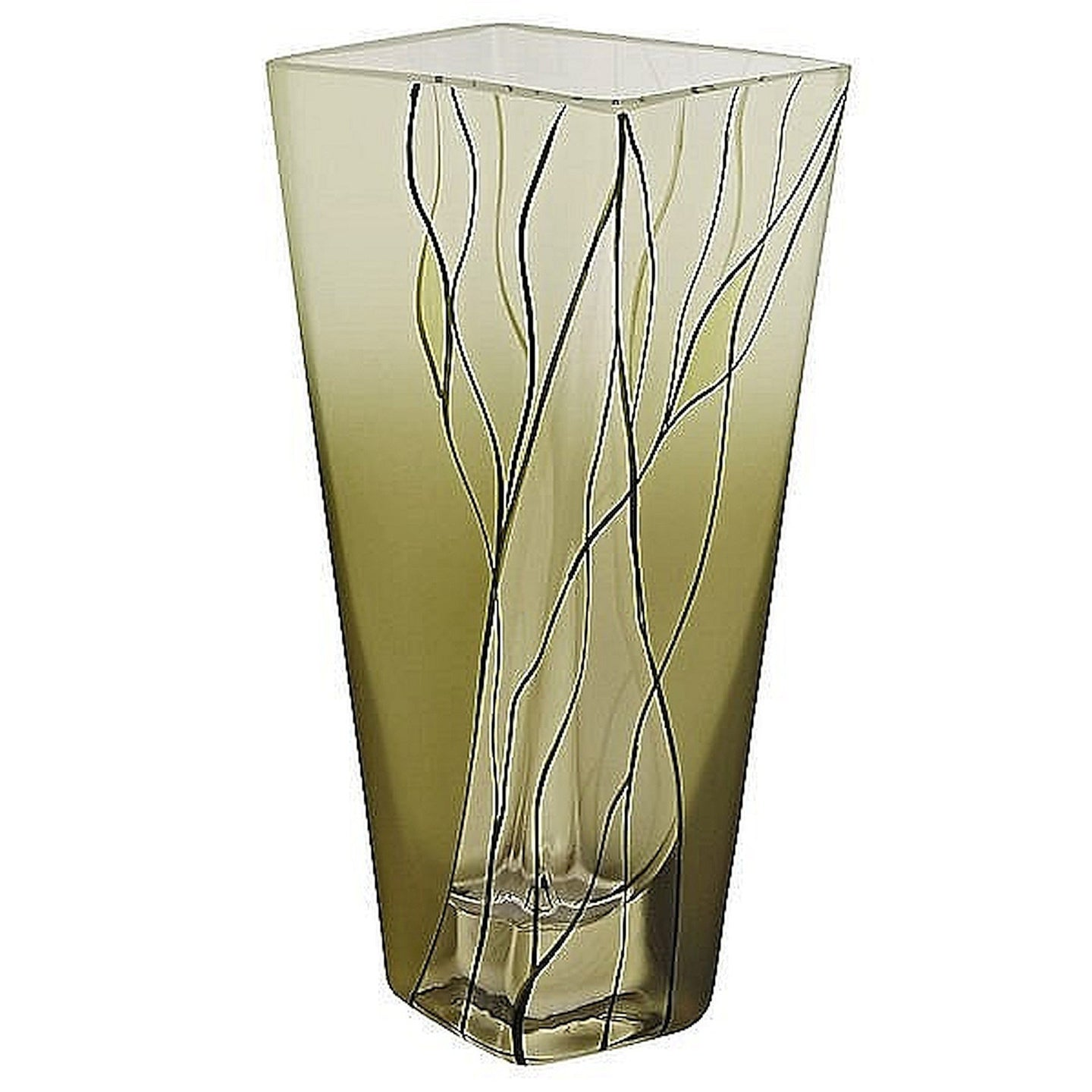 European Green Crystal 8-inch Square Vase - Nature Home Decor
