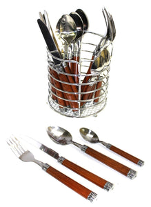 Flatware Sets 18/10 | Dark Wood Design Resin Handles - Nature Home Decor