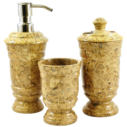 Fossil Stone 3-Piece Bath Set of Tasmanian Collection - Nature Home Decor