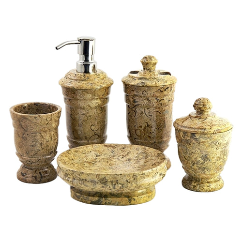 Fossil Stone 5-Piece Bathroom Accessories Set - Nature Home Decor