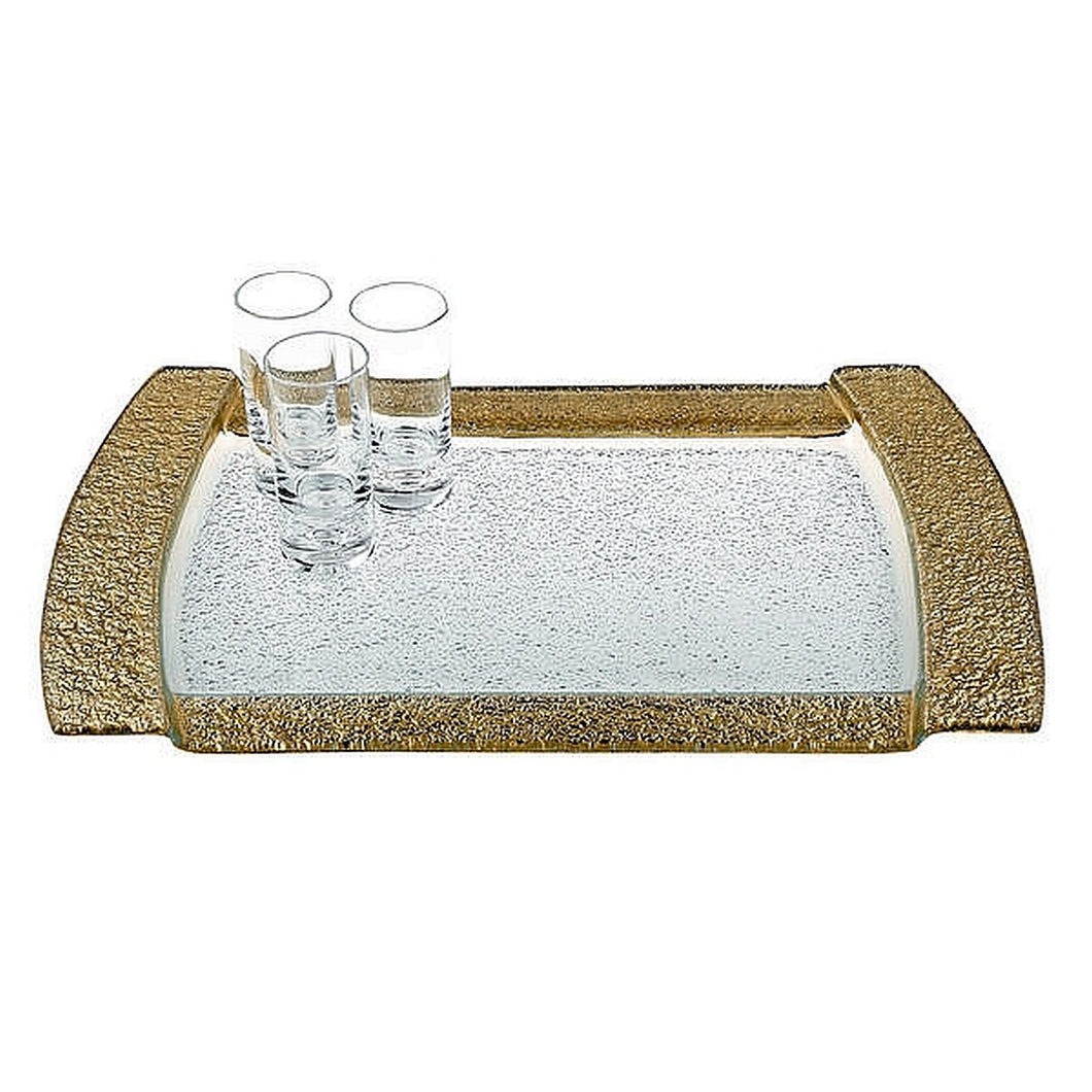 Glass Serving Tray with Genuine Gold Leaf Borders - Nature Home Decor