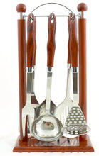 Load image into Gallery viewer, Kitchen Spoons Set with Wooden Design Hanging Stand - Nature Home Decor