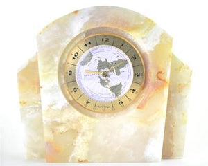 Large Table Clock | White Onyx Executive Desk World Clock - Nature Home Decor