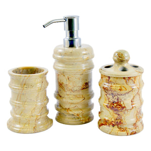 Marble Bathroom Accessories Set | Sahara Beige Marble 3 Piece - Nature Home Decor