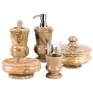 Marble Bathroom Accessories sets | Sahara Beige Marble 5-Piece Bath Set of Mediterranean Collection - Nature Home Decor