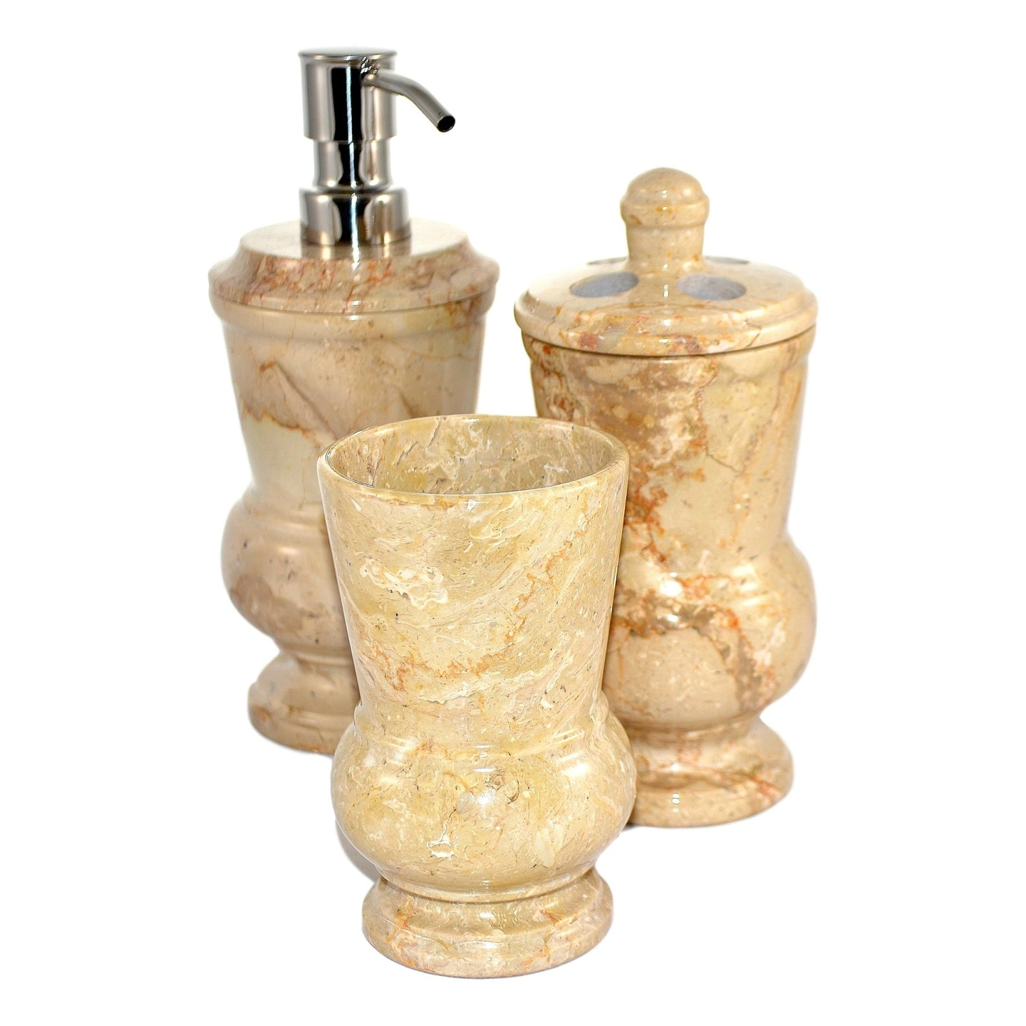 Marble Bathroom Accessory Set | Sahara Beige Marble 3-Piece Set of Mediterranean Collection - Nature Home Decor