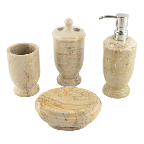 Marble Bathroom Accessory Sets | Sahara Beige 4-Piece Set of Atlantic Collection - Nature Home Decor