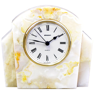 Marble Clocks | White Onyx Executive Desk Clock - Nature Home Decor