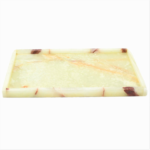 Marble Vanity Tray Crafted in Pistachio Onyx - Nature Home Decor