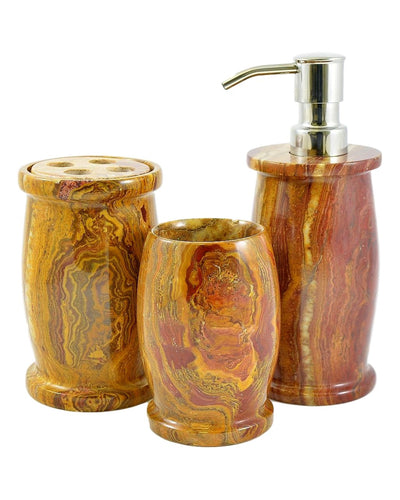 Multi Brown Onyx 3-Piece Bathroom Accessories Set of Pacific Collection - Nature Home Decor