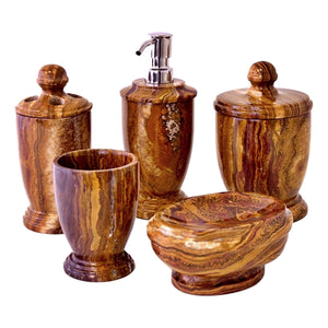 Multi Brown Onyx 5 Piece Bathroom Accessory Set - Nature Home Decor