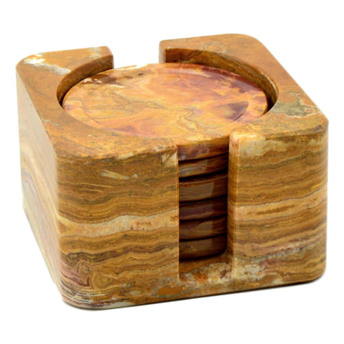 Multi Brown Onyx Coasters with Square Holder - Nature Home Decor