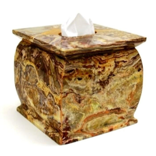 Multi Green Onyx Tissue Cover - Nature Home Decor