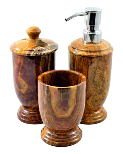 Multi Onyx 3-Piece Bathroom Accessory Set of Atlantic Collection - Nature Home Decor