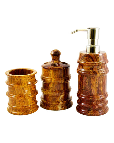 Multi Onyx 3 Piece Bathroom Accessory Set of Bengal Collection - Nature Home Decor