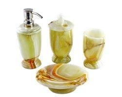 Onyx Marble | Pistachio Onyx 4-Piece Bath Accessory Set - Nature Home Decor
