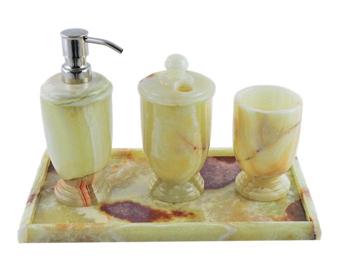 Pistachio Green Onyx 4-Piece Bath Accessory Set with Vanity Tray - Nature Home Decor